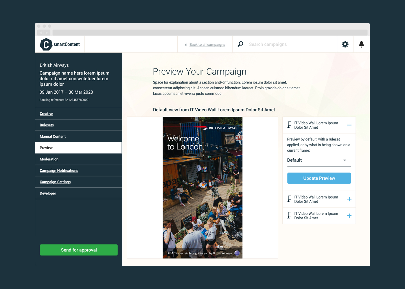 An example screenshot depicting how a user could preview their campaign before committing.